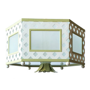 The Elsie Flush Mount in Custom White w/ F&B Churlish Green Trim & Finial