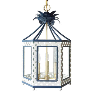The Elsie Lantern in BM Super White w/ Ralph Lauren Rue Royale Trim
