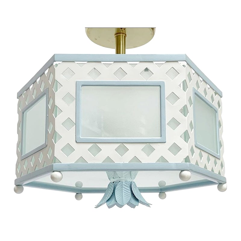 The Elsie Semi Flush in Custom BM Super White w/ Blue Trim