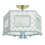 Load image into Gallery viewer, The Elsie Semi Flush in Custom BM Super White w/ Blue Trim