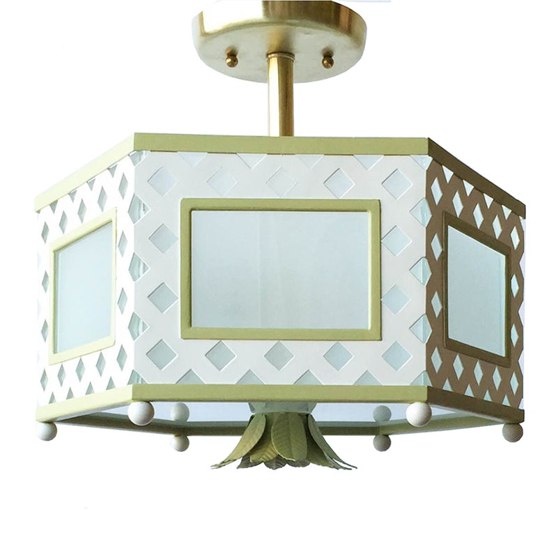 The Elsie Semi Flush in a Custom White w/ F&B Churlish Green Trim & Finial