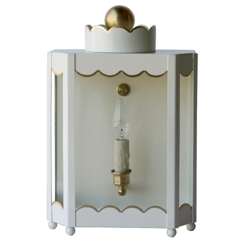 The Single Light Scalloped Lantern Sconce in Standard Ivory w/ Gold Gilt Trim