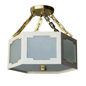 The Taylor Semi Flush in Standard Ivory w/ Gold Gilt Trim