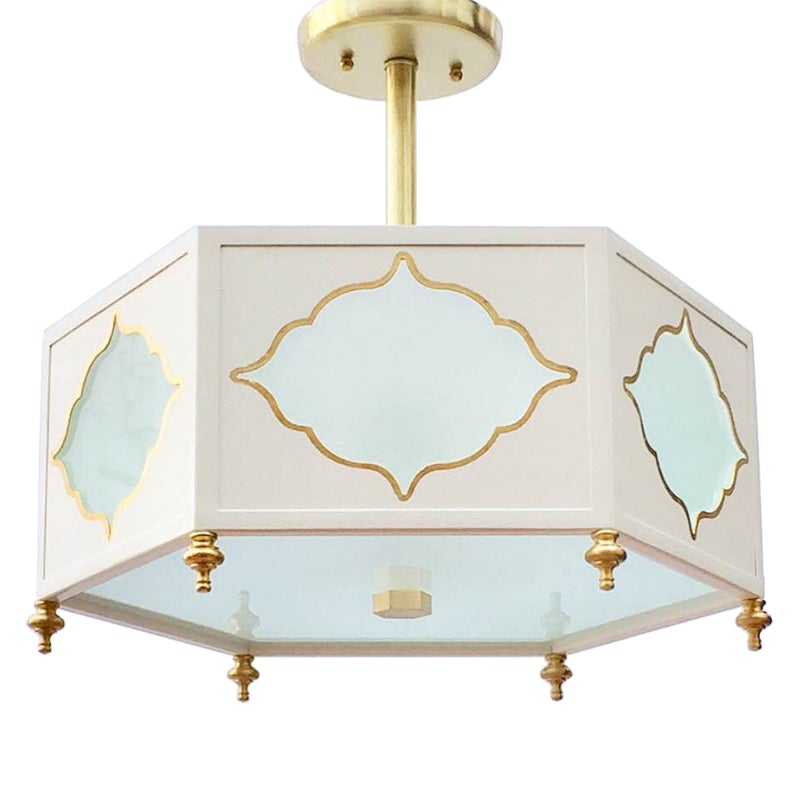 Jardena Semi Flush in Standard Ivory w/ Gold Gilt Trim