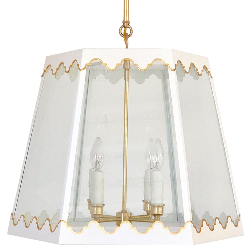 The Josephine Lantern in Standard Ivory w/ Gold Gilt Trim