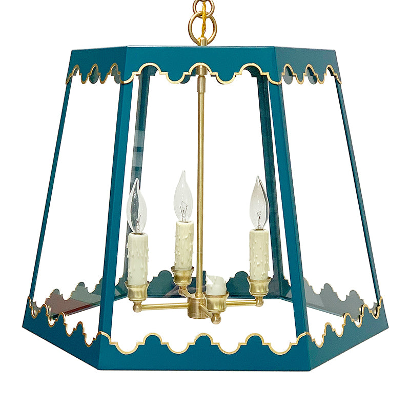 The Josephine Lantern in Standard Peacock w/ Gold Gilt Trim