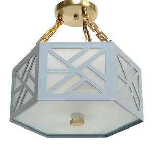 The Lexi Semi Flush in Custom Sherwin Williams Wondrous Blue w/ Standard Brass Hardware
