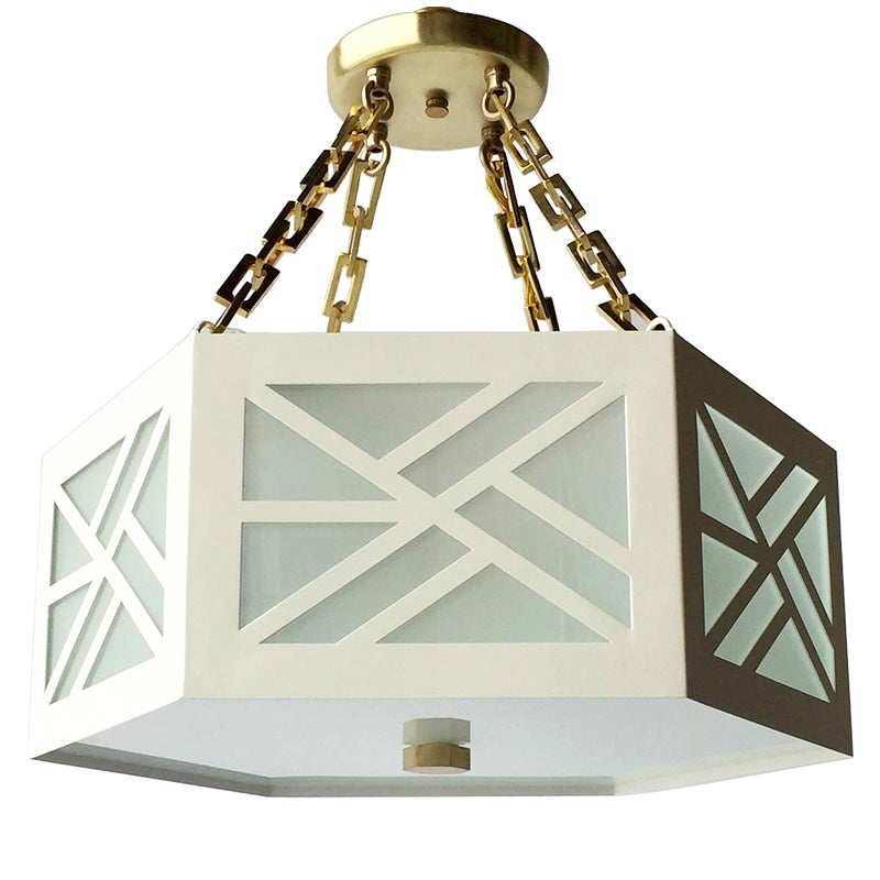 The Lexi Semi Flush in Standard Ivory w/ Brass Hardware
