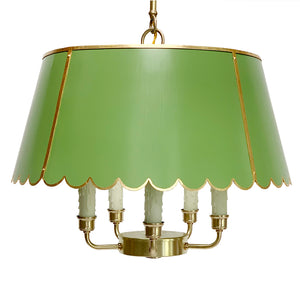 The Scalloped Maisie in Custom BM Courtyard Green w/ Gold Gilt Trim & Brass Hardware