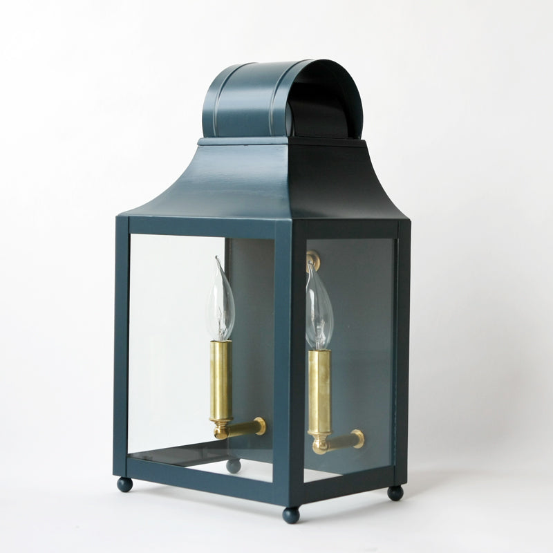 The Maribel Lantern Sconce in Custom F&B Hague Blue
