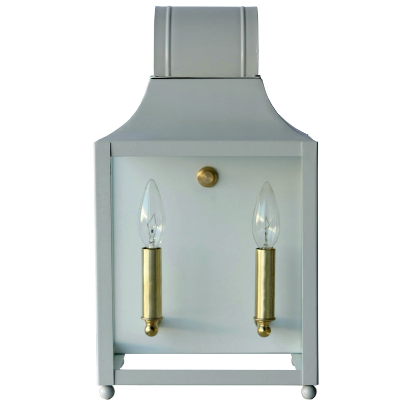 The Maribel Lantern Sconce in Standard Gray Mist w/ Brass Hardware
