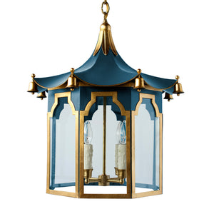 The Pagoda Lantern in Standard Peacock w/ Gold Gilt Trim