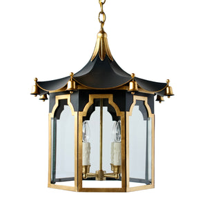 The Pagoda Lantern in Standard Lamp Post Black w/ Gold Gilt Trim