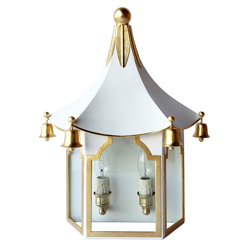 The Pagoda Sconce in Standard Ivory & Gold Gilt Trim