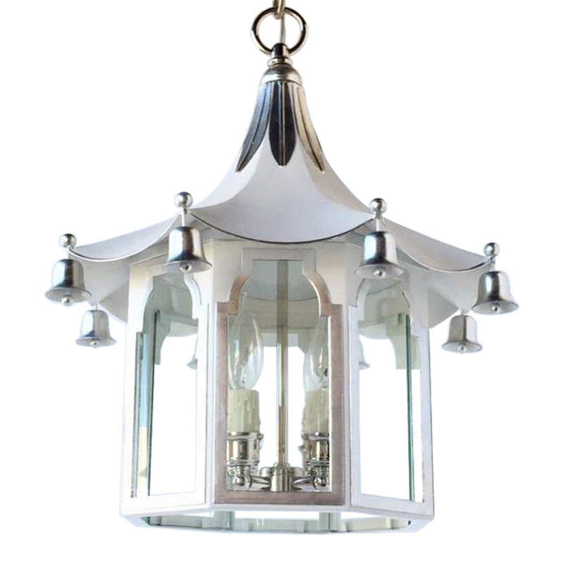 The Pagoda Lantern in BM Super White w/ Silver GIlt Trim & Nickel Hardware