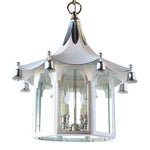 Load image into Gallery viewer, The Pagoda Lantern in BM Super White w/ Silver GIlt Trim & Nickel Hardware
