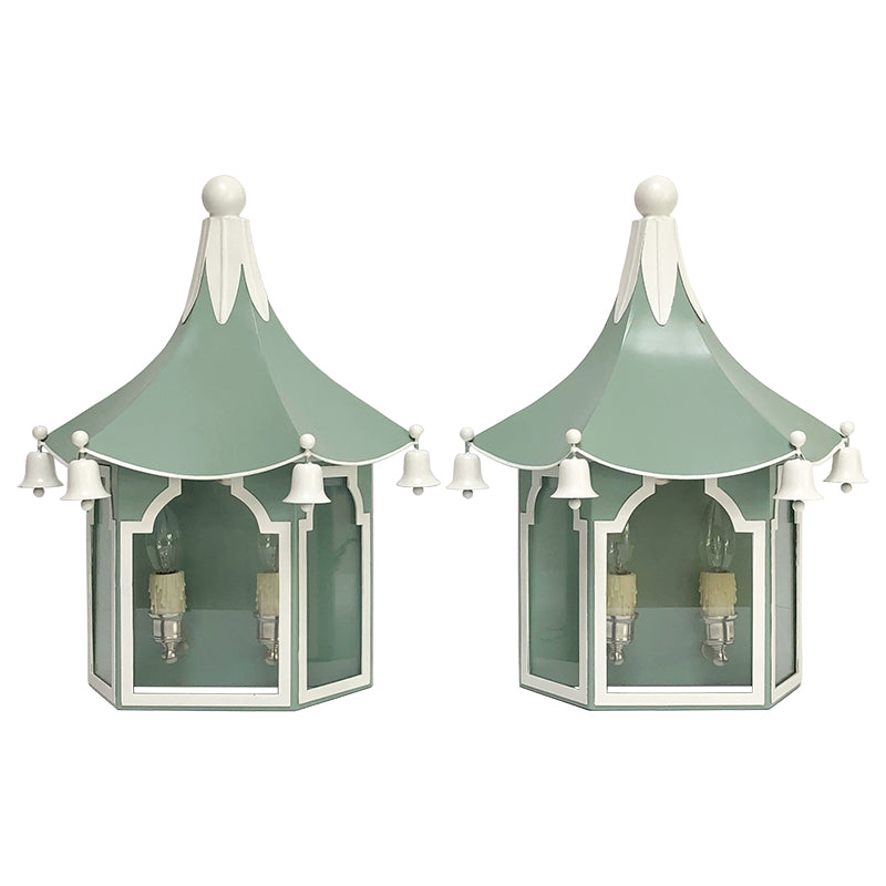 Pair of Pagoda Sconces in a Custom Blue/Green w/ White Trim & Nickel Hardware