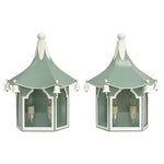 Load image into Gallery viewer, Pair of Pagoda Sconces in a Custom Blue/Green w/ White Trim & Nickel Hardware