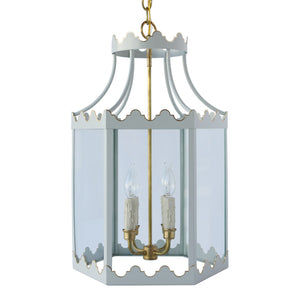 Paloma Lantern in Standard Gray Mist w/ Gold Gilt Trim & Brass Hardware