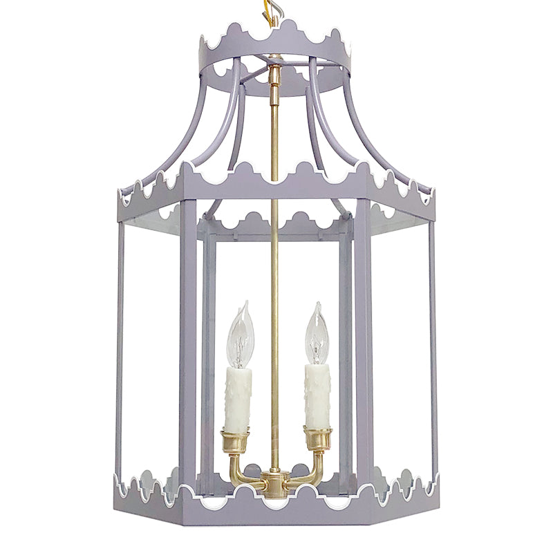 The Paloma Lantern in a Custom Lavender w/ White Trim & Brass Hardware