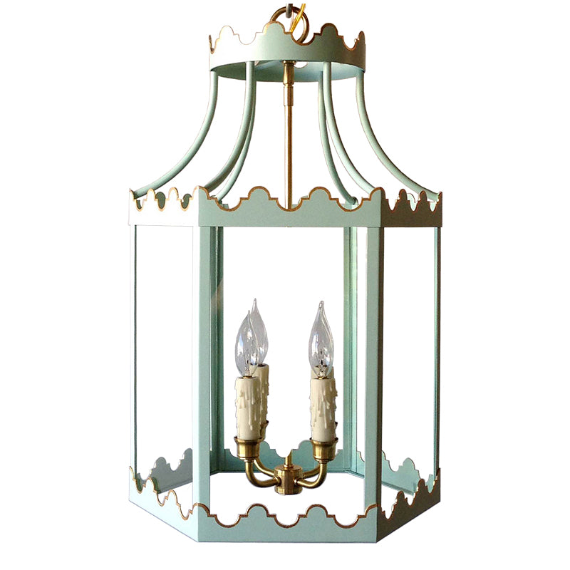 The Paloma Lantern in a Custom Mint Green