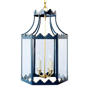 The Paloma Lantern in Custom F&B Hague Blue w/ Gold Gilt Trim & Brass Hardware