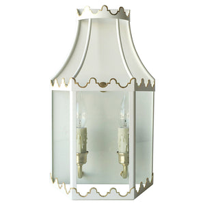 The Paloma Lantern Sconce in Standard Ivory w/ Gold Gilt Trim