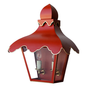 The Tole Tent Lantern Sconce in Standard Moroccan Red w/ Gold Gilt Trim