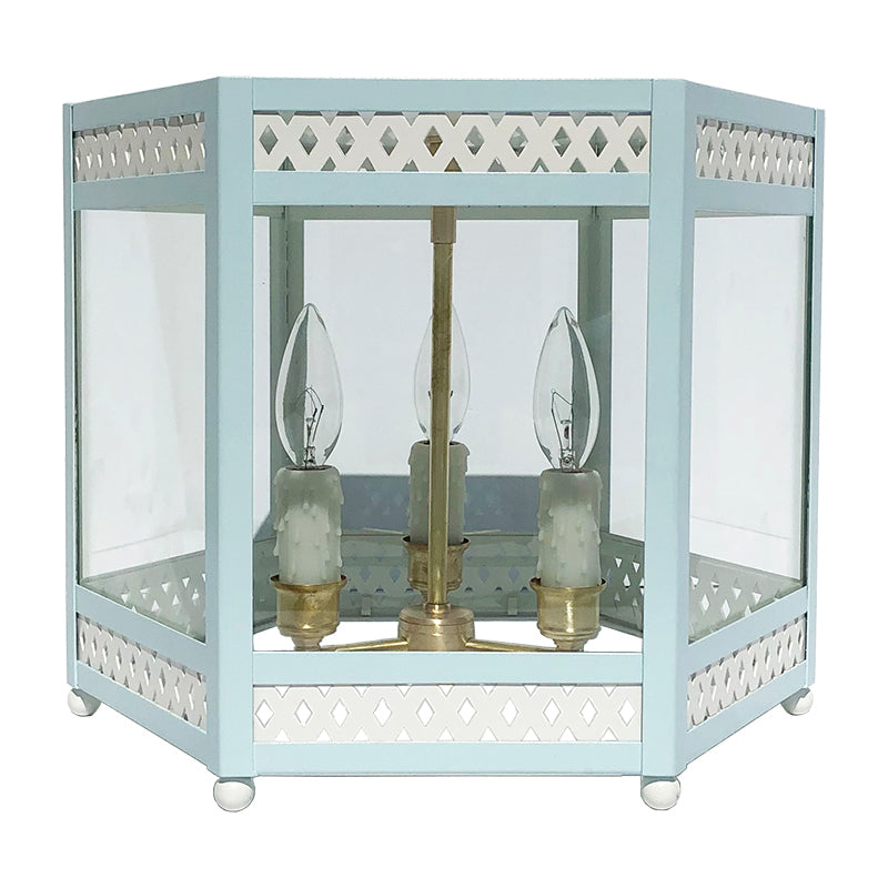 The Sara Lantern Flush Mount in Custom BM Super White w/ Crystal Springs Trim