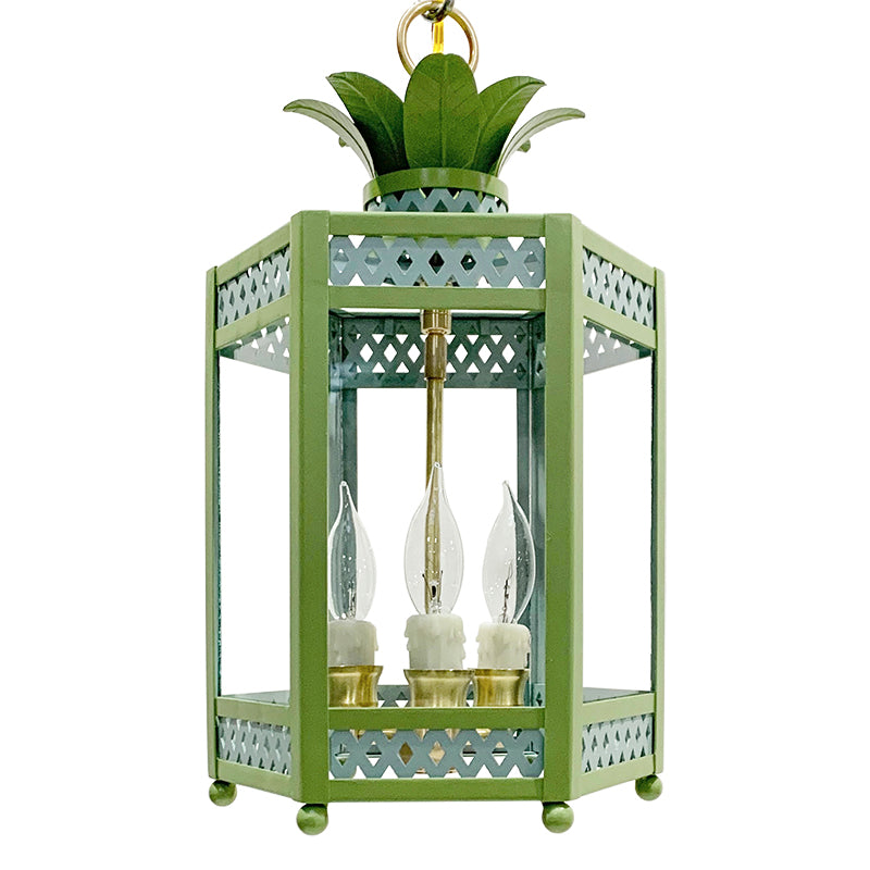 The Sarafina Lantern in Custom F&B Dix Blue & Yeabridge Green Trim & Leaves