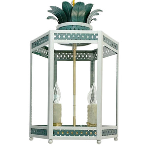 The Sarafina Lantern in Custom Colors F&B Skylight w/  F&B Inchyra Blue