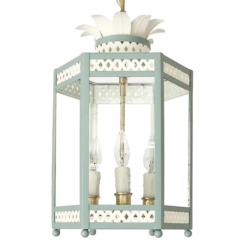 The Sarafina Lantern in Ivory w/ Custom F&B Dix Blue Trim