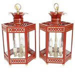 Load image into Gallery viewer, A Pair of Sarafina Lanterns in Standard Moroccan Red w/ Gold Gilt Trim