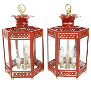 A Pair of Sarafina Lanterns in Standard Moroccan Red w/ Gold Gilt Trim