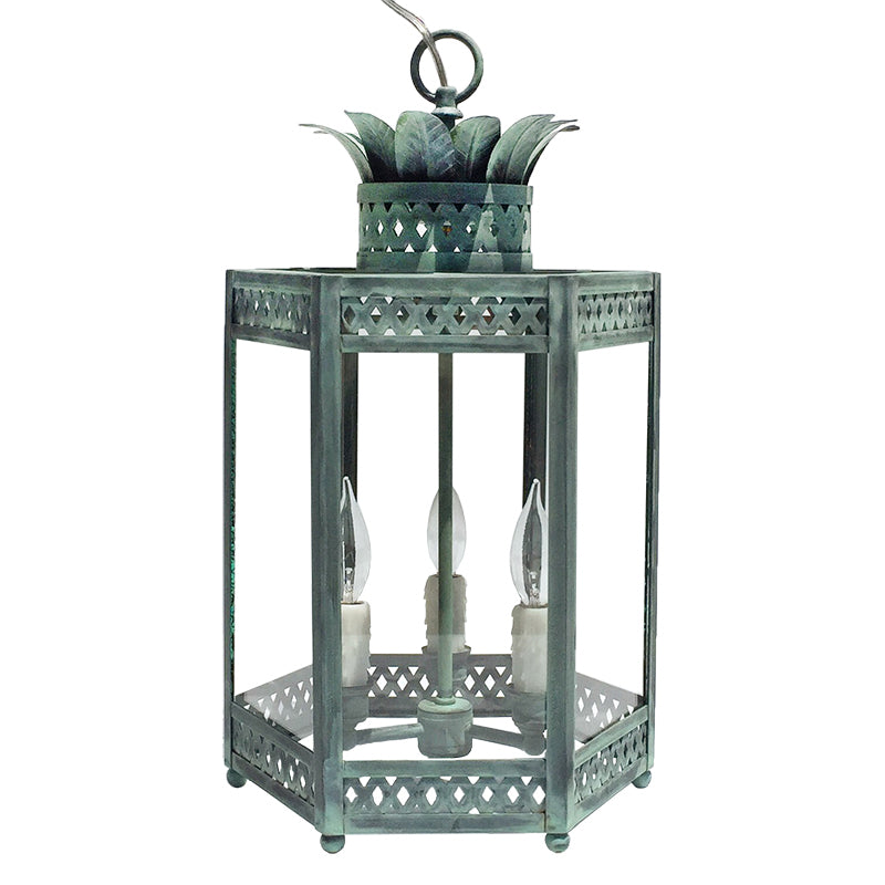 The Sarafina Lantern in Verdigris Finish.  Select Verdigris Hardware and FInish to Order