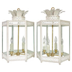 Load image into Gallery viewer, A Pair of Sarafina Lanterns in Standard Gray Mist w/ Ivory Lattice