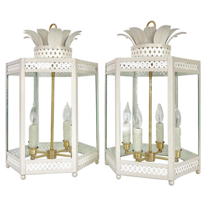 A Pair of Sarafina Lanterns in Standard Gray Mist w/ Ivory Lattice