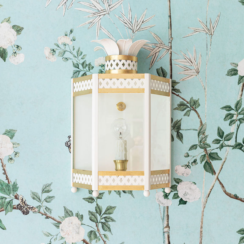Photo Courtesy of Paloma Contreras Interior Design for The Lake Forest Infant Welfare Showhouse.  The Sarafina Sconce Shown in Standard Ivory w/ Gold Gilt Trim