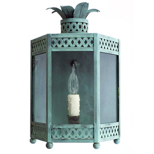 The Sarafina Lantern Sconce in Verdigris