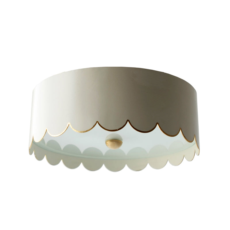 The Scalloped Flush Mount in Standard Ivory w/ Gold Gilt Trim