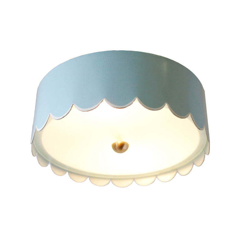 The Scalloped FLush Mount in Custom BM Gossamer Blue w/ White Trim