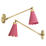 Load image into Gallery viewer, Scalloped Arm Sconces in a Custom Pink w/ Gold Gilt Trim & Brass Hardware