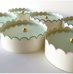 Load image into Gallery viewer, A Group of Ivory Scalloped Flush Mounts w/ Various Trim Colors
