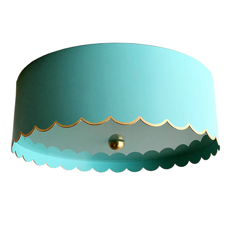 The Scalloped Flush Mount in a Custom Turquoise w. Gold Gilt Trim