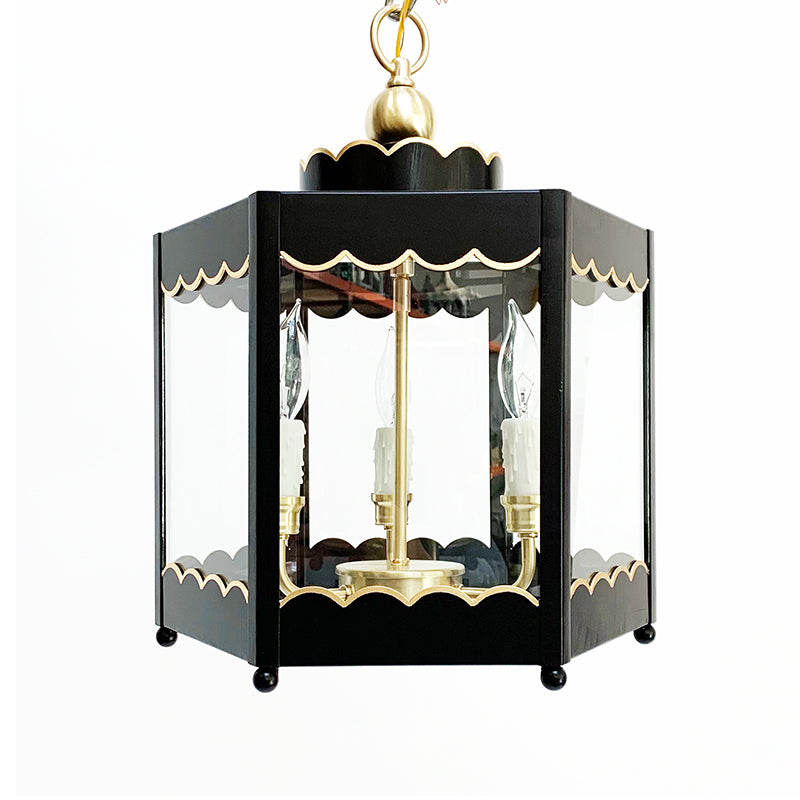 The Scalloped Lantern in Standard Lamp Post Black w/ Gold Gilt Trim & Brass Hardware