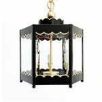 Load image into Gallery viewer, The Scalloped Lantern in Standard Lamp Post Black w/ Gold Gilt Trim & Brass Hardware