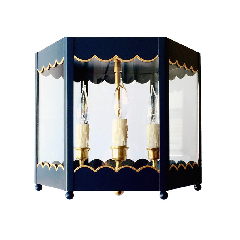 The Scalloped Lantern Flush Mount in a Custom Dark Navy w/ Gold Gilt Trim