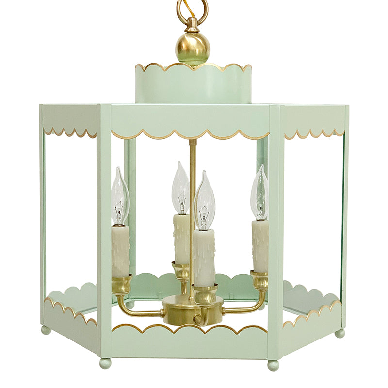 The Scalloped Lantern in Custom Color BM Garland Green w/ Gold Gilt Trim & Brass Hardware