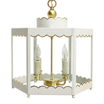 Load image into Gallery viewer, The Scalloped Lantern in Standard Ivory w/ Gold Gilt Trim & Brass Hardware