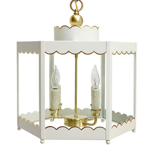 The Scalloped Lantern in Standard Ivory w/ Gold Gilt Trim & Brass Hardware